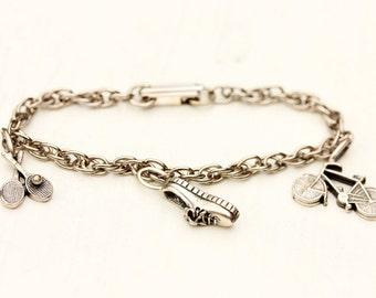 Sports Charm Bracelet, Bicycle Charm, Shoe Charm, Charm Bracelet, Silver Charm Bracelet