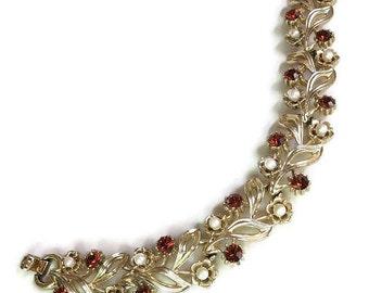 Topaz Rhinestone & Faux Pearl Bracelet Vintage Mid-Century