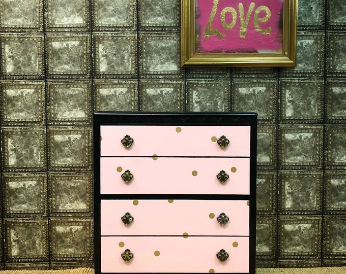 Baby pink and gold dots chest