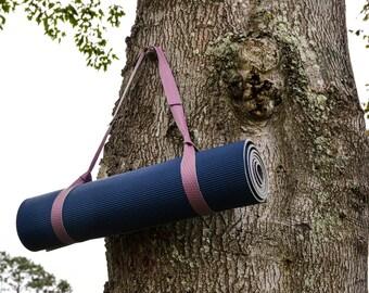 Wildberry Purple Yoga Mat Strap / Yoga Mat Strap / Yoga Mat Carrier / Leather Strap / Leather Yoga Strap / Yoga Strap
