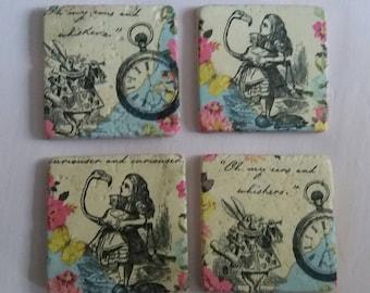 Coasters, Alice in Wonderland stone tile coasters, white rabbit, retro style coasters, set of 4