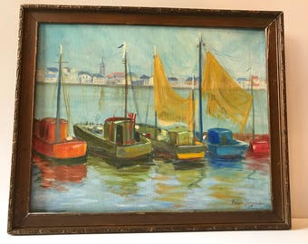 Signed Painting Row of Sailboats
