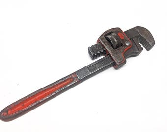 """Vintage Rustic Old Antique Improved STILLSON 6"""" Pipe Plumbers Wrench RIDGE Tool Co Elyria Ohio USA. Collectible. Use.Steampunk.Display,"""
