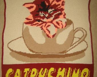 Catpuchino - Hand Made Crocheted Afghan - BRAND NEW