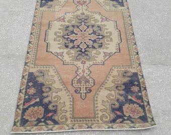 """Oushak Rug Vintage Rug Turkish Rug Vintage Turkish Rug Area Rug Handmade Wool Rug Vintage Anatolian Carpet 3'9"""" x 7'1"""" Feet Free Shipping !"""