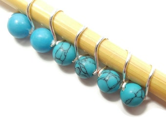Knit Stitch Markers - Turquoise Mobius Ring - Stitch Markers - Small, Medium, or Large
