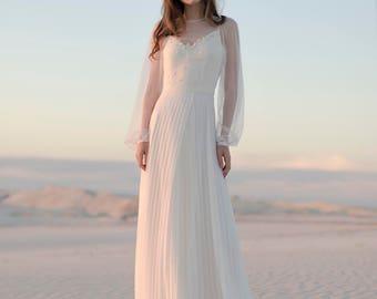 Silk and chiffon wedding dress, Ivory wedding gown