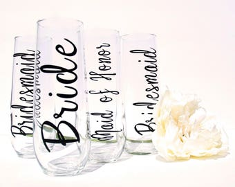 Bridal Party Champagne Flutes   Bridesmaids Glasses   Maid of Honor Champagne Flutes   Personalized Stemless Champagne Flutes