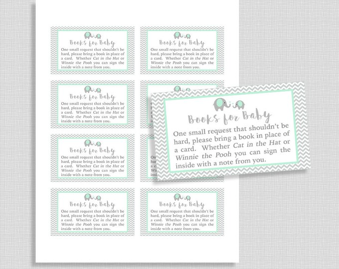 Mint Elephant Baby Shower Book Request, Printable Mint and Grey Chevron Invite Insert, Books for Baby, INSTANT DOWNLOAD