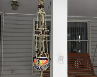Macrame Plant Hanger in taupe, thatch color  4 mm Polyolefin cord with brown wooden beads and birdcage design