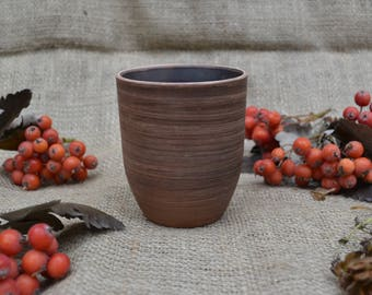 Hand Made Clay glassful, drinking glass, hand made, pottery tumbler, ceramic, cup 300 ml, 10 oz, 0.5 pint