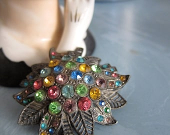 30s Deco Little Nemo Brooch Pin - 1930s Antique Jewellery - Vintage Pot Metal Multi-Color Jewels