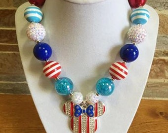 Bubblegum Necklace, Minnie, Patriotic, July 4th, Chunky Bubblegum Necklace, Chunky Beads, Girls Necklace, Gumball Necklace, Photo Prop