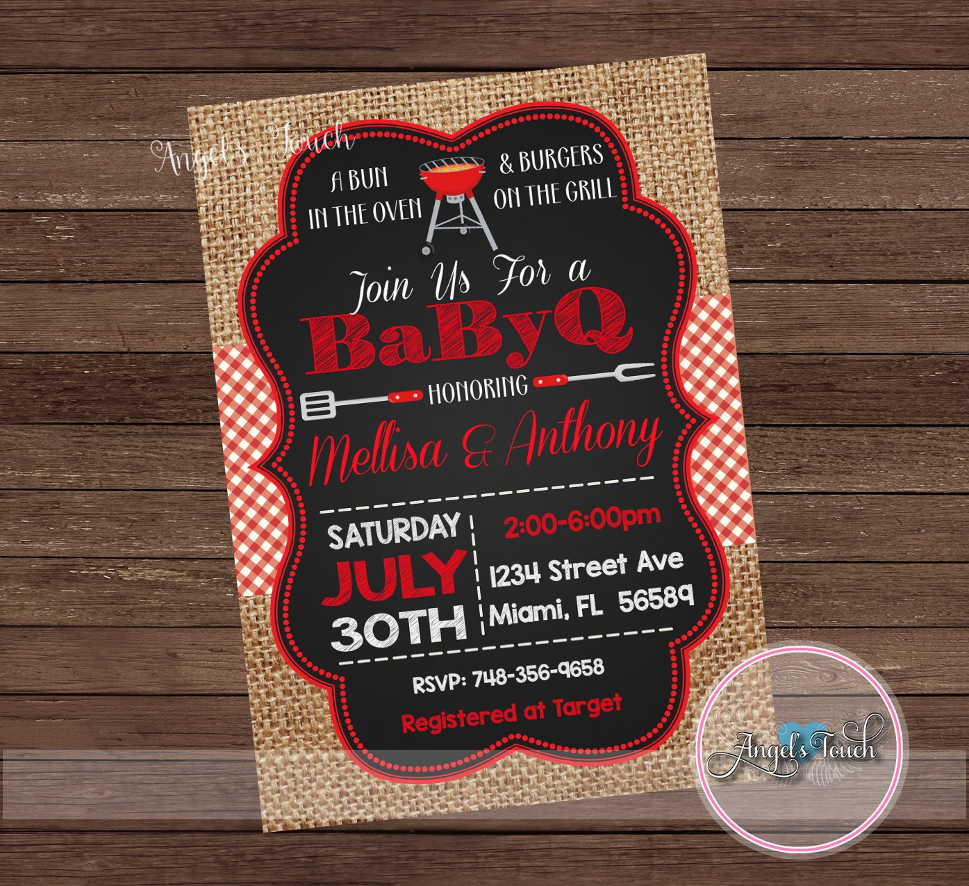 Fine Baby Q Shower Invitations Ideas - Invitations and Announcements ...