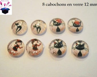 8 glass cabochons 12 mm for loop cat theme