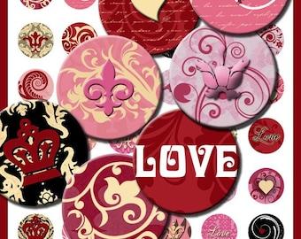 Hearts, Love, Crowns, & Fleur de lis 1 inch Circles Bottle Caps Damask Designs Digital Collage Sheet Download No. 29