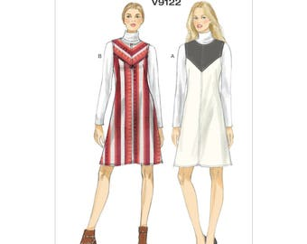 Vogue V9122 Size 6-14 Misses Sleeveless Lined Dress A-Line Jumper with Yoke Front Sewing Pattern / Uncut FF
