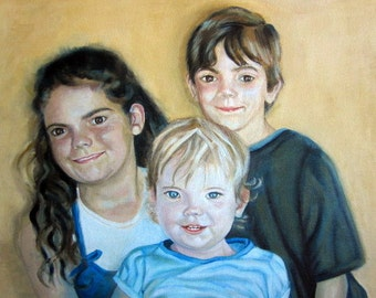 Original Custom Group Portrait Painting 3 people from your own photo, oil painting on canvas, children, grandchildren, family