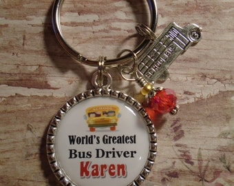 Personalized Bus Driver key chain with charms
