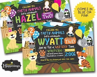 Zoo Birthday Invitation Jungle Birthday Invitation Animal Birthday Invitation Jungle Birthday Invite Digital File by Busy bee's Happenings