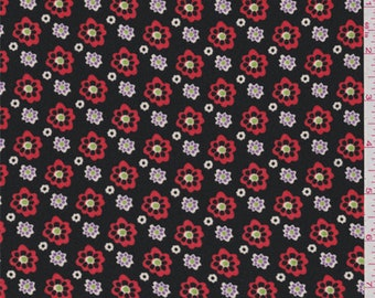 Black/Red Floral Crepe de Chine, Fabric By The Yard