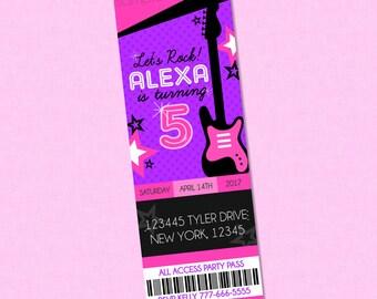 Girly Rockstar Ticket Style Birthday Invitation