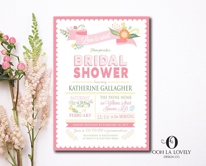 Love is Sweet Bridal Shower Invitation Floral Shower Invite