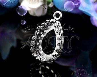 1pcs 925 Sterling Silver Wire Crown Bezel Setting for 14x10mm Cabochon/Faceted Gems/Swarovski, Israel, 2647as, Teardrop/Pear Shape, Oxidized