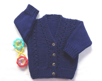 Baby cardigan - 6 to 12 months - Infant knit cardigan - Baby navy sweater - Baby clothing - Baby shower gift