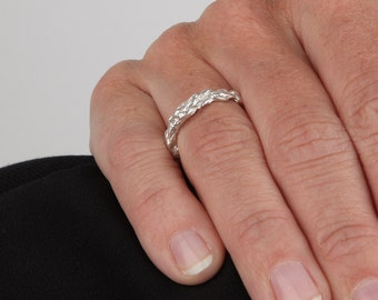 crochet silver ring