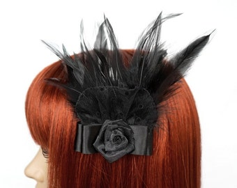Gothic headpiece with feathers