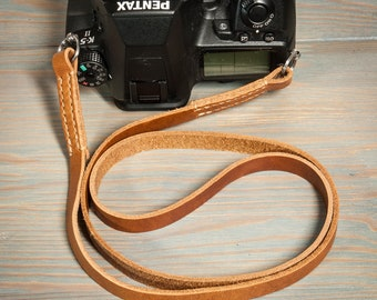 Hand made tan stitched leather camera strap