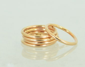 Round Classic Rose Gold Stackable Ring(s), 14k Rose Gold Filled, Stacking Rings, Stack Rings, Simple Gold Ring, Gold Rings, Rose Gold Band
