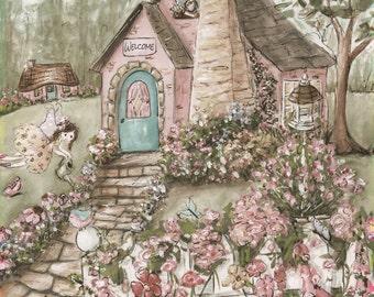 Girl Nursery Wall Art, Fairy Wall Art, Girl Fairy Decor, Personalized Art, Fairy Cottage, Fairies, Flowers, Shabby Chic Colors, Soft Pink
