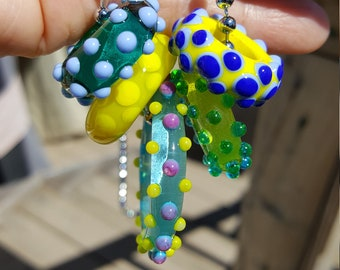 Set of 5 Assorted Handmade Lampwork Glass Ring Beads with FREE Chain - Life's a Beach!