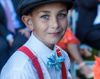 Boys red and turquoise suspender set - turquoise bow tie - toddler boy suspenders - baby boy suspenders - baby bow tie - wedding- photo prop