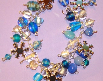 LAST ONE! Snowflake Ice Princess Blue and Silver Wire Wrapped Glass Beaded Charm Bracelet