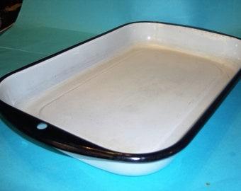 Enamelware Farmhouse Large Baking Pan White with Black trim