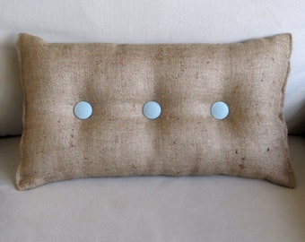lumbar style 11x19 Burlap Pillow with spa blue organic cotton duck buttons