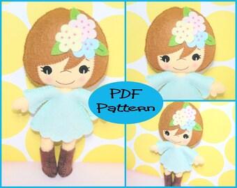 PDF Pattern - Sally, Felt Doll Pattern, Sewing Tutorial, Doll Tutorial, Felt Tutorial, Doll Making, Felt Plush, Plush Pattern, Felt Mascot,