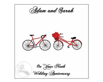 Handmade Personalised Ninth Wedding Anniversary Card 9th Road Bikes Bicycle Hearts Pottery
