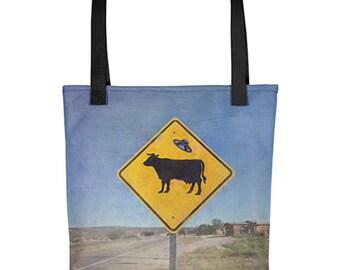 Reusable Grocery Bag Shopper Tote Market Bag Cow Print Funny Tote Bag Shoulder Tote Bag Alien Abduction Beach Bag Eco Friendly Sustainable