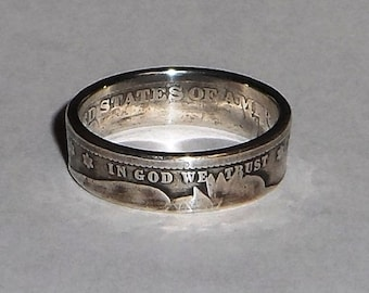 Ring Handmade From 100 Year Old SILVER BARBER US Quarter  Coin size 4-8