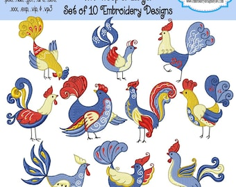 Colorful Roosters Machine Embroidery Designs - Set of 10 Instant Download Sale