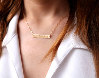 Gold bar Necklace, Personalized Necklace, Engraved Name Necklace, Silver Bar Necklace , Roman Numerals necklace, Coordinates Bridesmaid gift