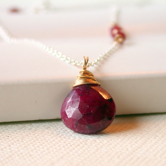 Outlet. Sale. Ruby Pendant Necklace. Faceted Ruby Pendant. Birthstone Pendant Necklace. July Birthstone Necklace.
