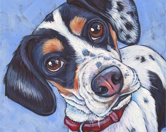 """8"""" x 8"""" Custom Pet Portrait Painting in Acrylic Paint on Ready to Hang Canvas of One Dog, Horse, or Other Animal"""