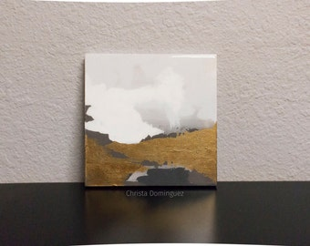 "Original Abstract Painting 12""x12"" Modern Art, Acrylic, Epoxy Resin  FREE SHIPPING Domestically"