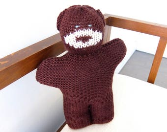 Knitted Bear Plushie Doll. Cute and cuddly for all ages. Retro stuffed animal with a modern, graphic touch.