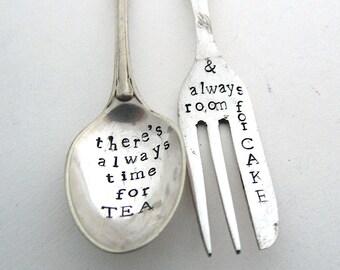 Teaspoon and Cakefork, Handstamped Mismatched Cutlery Set, Vintage Teatime, Hand Stamped Vintage Tea Spoon and Cake Fork